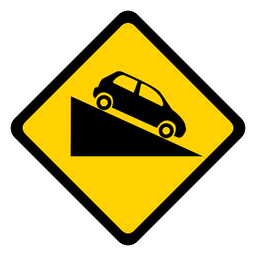 Car descent rhomb warning flat