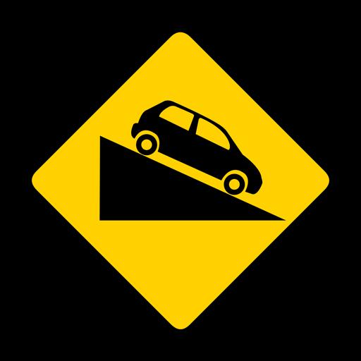 Car descent rhomb warning flat Transparent PNG