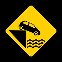 Aparcamiento de coches agua río muelle rombo advertencia plana