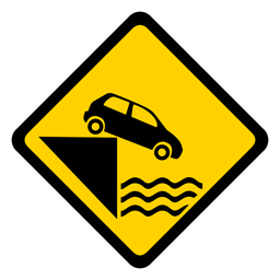 Car parking water river pier rhomb warning flat