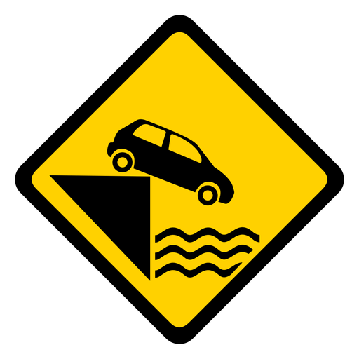 Car parking water river pier rhomb warning flat