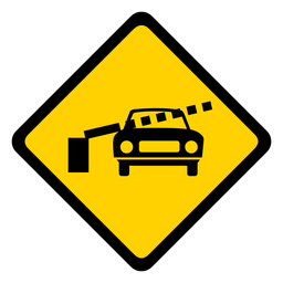 Car railroad crossing barrier rhomb warning flat