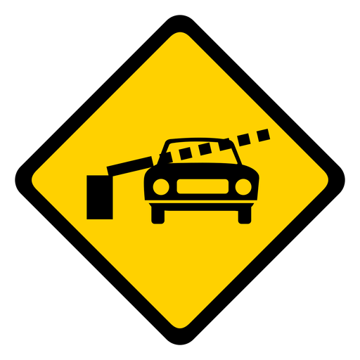 Car railroad crossing barrier rhomb warning flat Transparent PNG