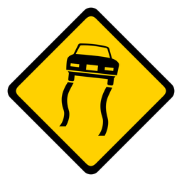 Car sliding track rhomb warning flat