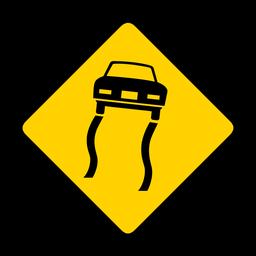 Coche deslizante pista rombo advertencia plana