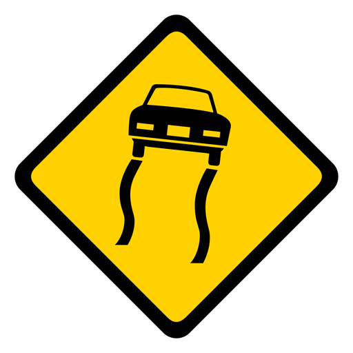Car sliding track rhomb warning flat Transparent PNG