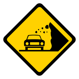 Car stone rock falling rhomb warning flat