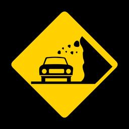 Coche piedra roca caída rombo advertencia plana