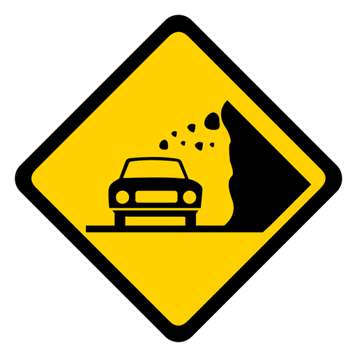 Car stone rock falling rhomb warning flat Transparent PNG