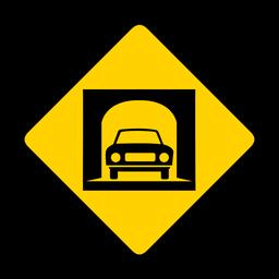 Advertencia de rombo de túnel de coche plana