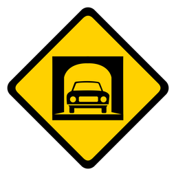 Car tunnel rhomb warning flat