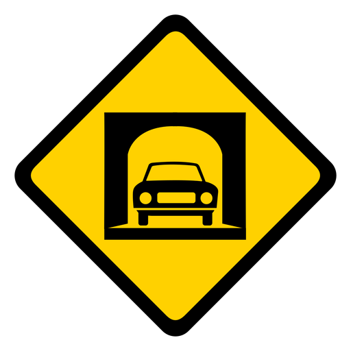 Advertencia de rombo de túnel de coche plana Transparent PNG