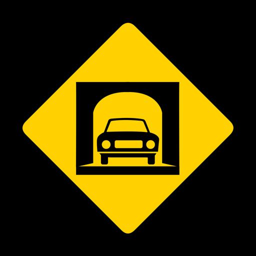 Car tunnel rhomb warning flat Transparent PNG