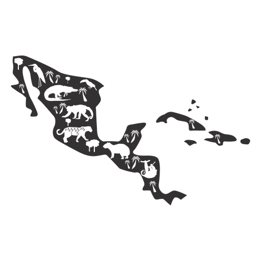 Central america map silhouette - Transparent PNG & SVG vector