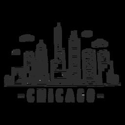 Pegatina del horizonte de la nube del centro comercial del rascacielos del centro de negocios del chapitel de Chicago