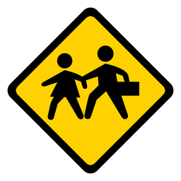 Child kid children crossing rhomb warning flat
