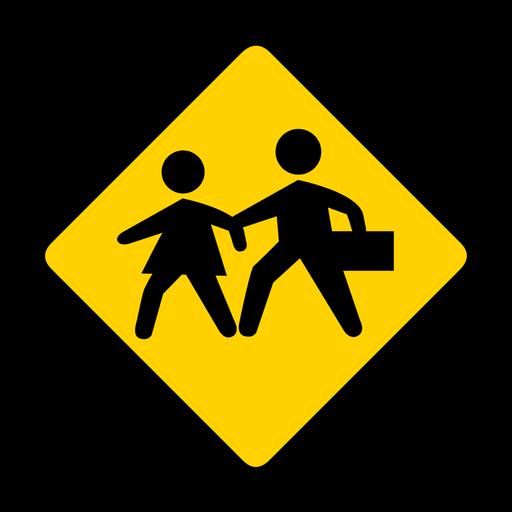 Child kid children crossing rhomb warning flat