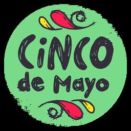 Etiqueta engomada del emblema de la insignia del cinco de mayo