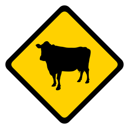 Cow rhomb warning flat