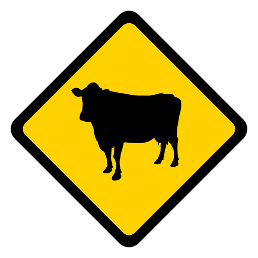Cow rhomb warning flat Transparent PNG