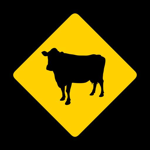 Vaca rhomb aviso plano Transparent PNG
