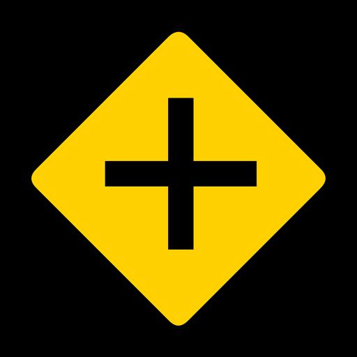 Cross crossing crossroads rhomb warning flat Transparent PNG
