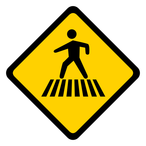 Crossing pedestrian rhomb warning flat Transparent PNG