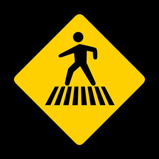 Cruce de rombos peatonales de advertencia plana. Transparent PNG