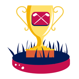 Copa victoria campeón club de golf campo de golf curso oro plano