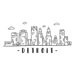 Pegatina del horizonte del raspador del cielo del centro de negocios de Detroit