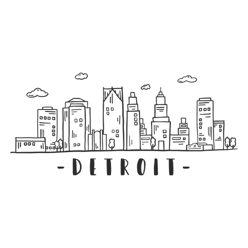 Detroit business center sky scraper skyline sticker Transparent PNG