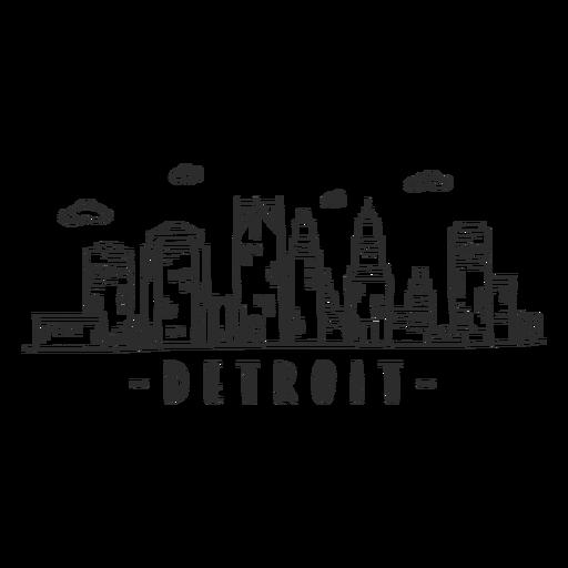 Pegatina del horizonte de la nube del centro comercial rascacielos del centro de negocios de Detroit Transparent PNG