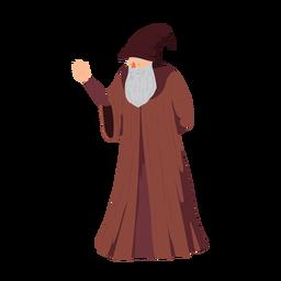 Anciano hombre barbudo barba túnica sombrero wizzard ilustración