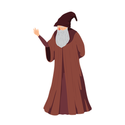 Elder bearded man beard robe hat wizzard illustration