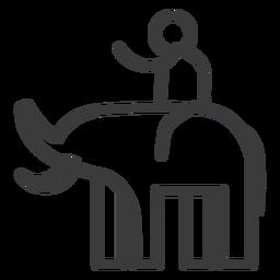 Elefante colmillo tronco jinete persona trazo