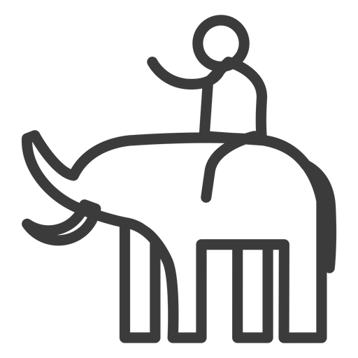 Elephant tusk trunk rider person stroke Transparent PNG