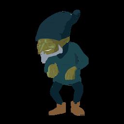 Elfo barbudo homem barba chapéu ilustração