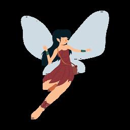 Fada vestido asa folha dança ilustração