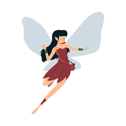 Fairy dress wing leaf dance illustration