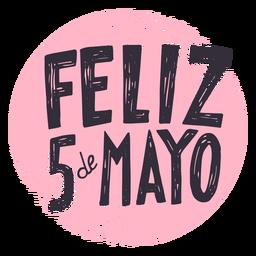 Etiqueta do círculo de Feliz 5 de Mayo