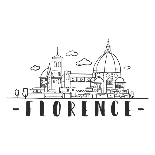 Florence skyline doodle sticker Transparent PNG