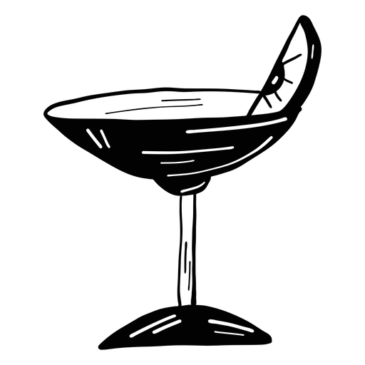 Glass cocktail orange lemon slice sketch Transparent PNG