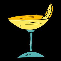 Esboço da cor da cor da fatia alaranjada do cocktail de vidro