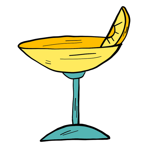 Glass cocktail orange slice color colour sketch Transparent PNG