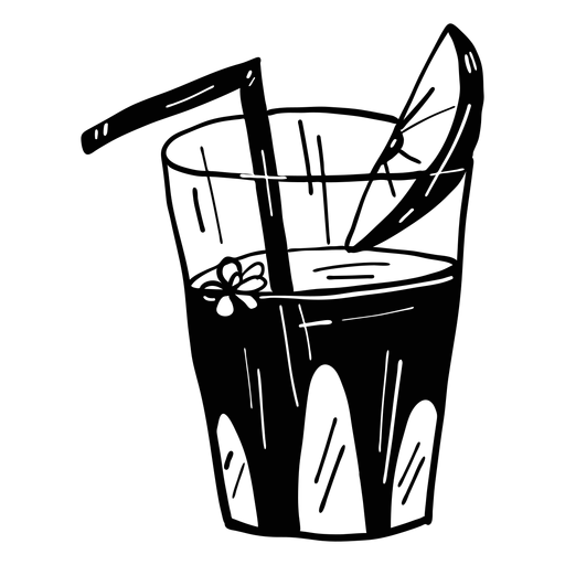 Glass flower drinking straw juice orange lemon slice sketch Transparent PNG