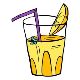 Flor de cristal beber paja jugo naranja rebanada color color bosquejo