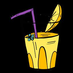 Flor de vidro bebendo palha suco laranja fatia cor cor esboço
