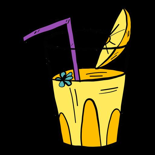 Flor de vidro bebendo palha suco laranja fatia cor cor esboço Transparent PNG