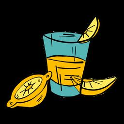 Esboço de cor de limão fatia de suco de vidro cor