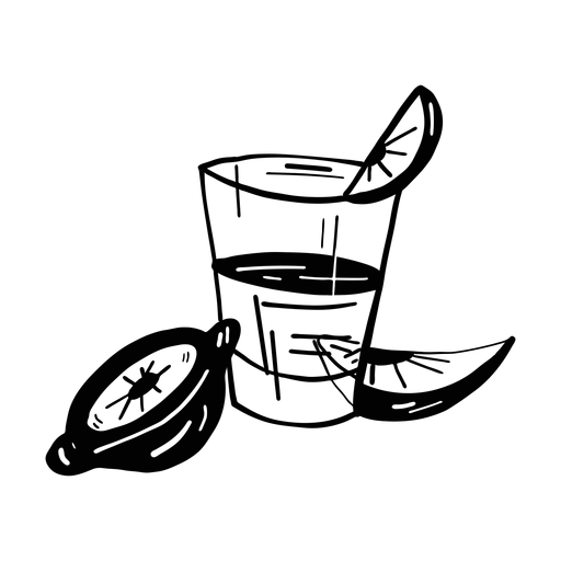 Jugo de vidrio rebanada limón naranja boceto Transparent PNG